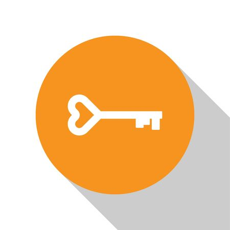 White Key in heart shape icon isolated on white background. Valentines day symbol. Orange circle button. Vector Illustration