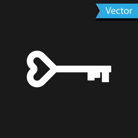 White Key in heart shape icon isolated on black background. Valentines day symbol. Vector Illustration Ilustração