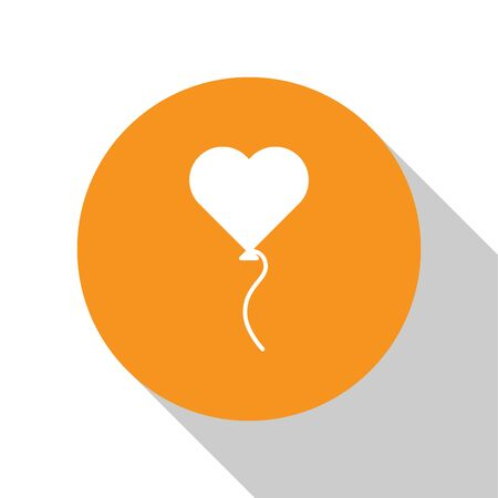 White Balloons in form of heart with ribbon icon isolated on white background. Valentines day symbol. Orange circle button. Vector Illustration