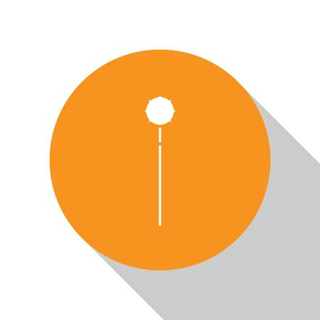 White Medieval chained mace ball icon isolated on white background. Medieval weapon. Orange circle button. Vector Illustration