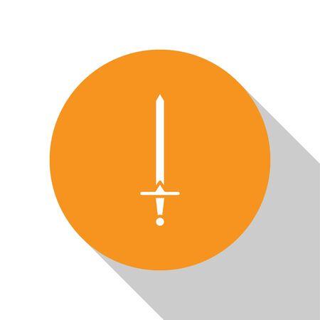 White Medieval sword icon isolated on white background. Medieval weapon. Orange circle button. Vector Illustration  イラスト・ベクター素材