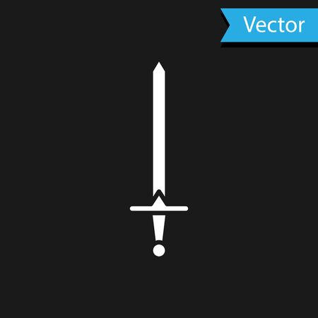 White Medieval sword icon isolated on black background. Medieval weapon. Vector Illustration