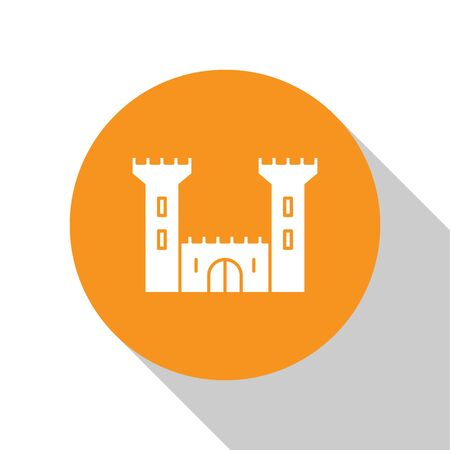 White Castle icon isolated on white background. Fortress sign. Orange circle button. Vector Illustration