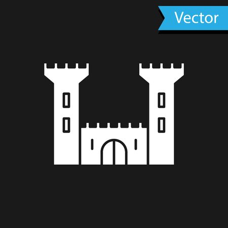 White Castle icon isolated on black background. Fortress sign. Vector Illustration 矢量图像