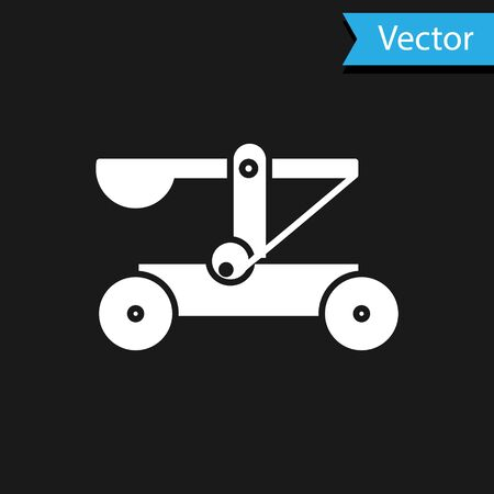 White Old medieval wooden catapult shooting stones icon isolated on black background. Vector Illustration