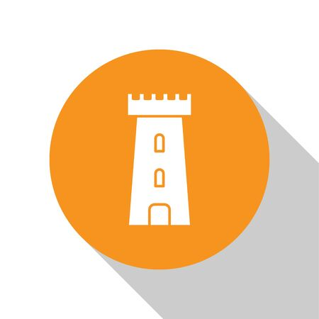 White Castle tower icon isolated on white background. Fortress sign. Orange circle button. Vector Illustration