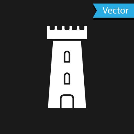 White Castle tower icon isolated on black background. Fortress sign. Vector Illustration 向量圖像