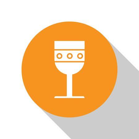 White Medieval goblet icon isolated on white background. Orange circle button. Vector Illustration