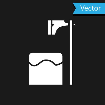 White Executioner axe in tree block icon isolated on black background. Hangman, torturer, executor, tormentor, butcher, headsman. Vector Illustration
