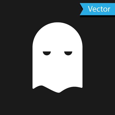White Executioner mask icon isolated on black background. Hangman, torturer, executor, tormentor, butcher, headsman icon. Vector Illustration