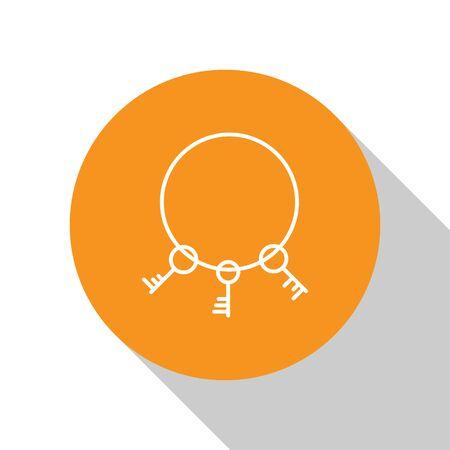 White Old keys icon isolated on white background. Orange circle button. Vector Illustration