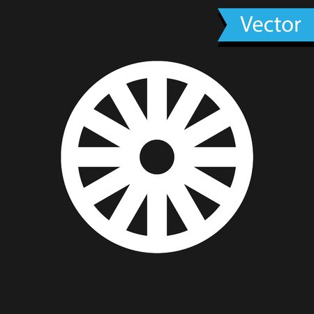 White Old wooden wheel icon isolated on black background. Vector Illustration