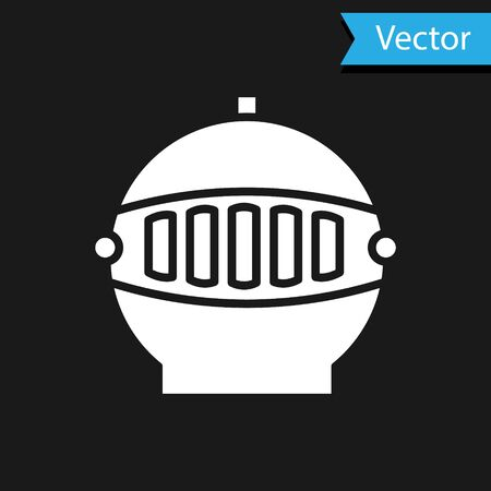 White Medieval iron helmet for head protection icon isolated on black background. Vector Illustration