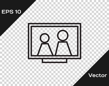 Black line Picture frame on table icon isolated on transparent background. Vector Illustration