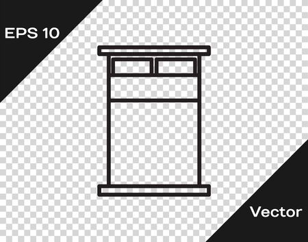 Black line Big bed for two or one person icon isolated on transparent background. Vector Illustration