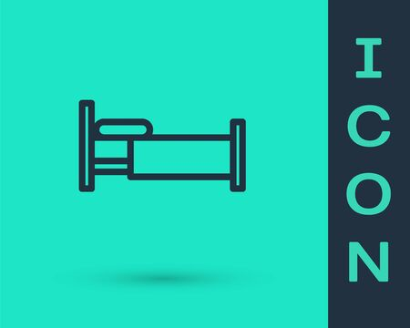 Black line Bed icon isolated on green background. Vector Illustration
