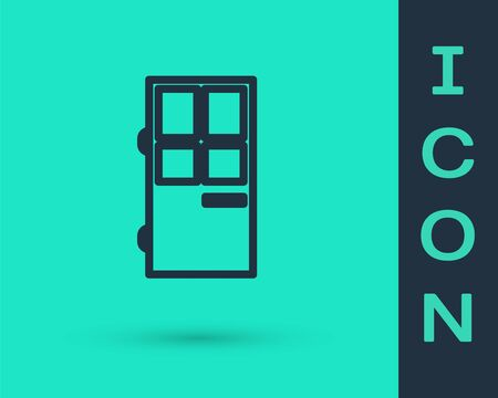 Black line Closed door icon isolated on green background. Vector Illustration Ilustração