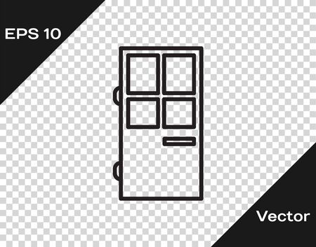 Black line Closed door icon isolated on transparent background. Vector Illustration