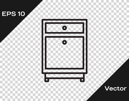 Black line Furniture nightstand icon isolated on transparent background. Vector Illustration