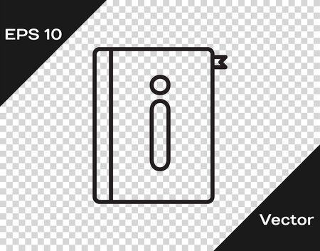 Black line User manual icon isolated on transparent background. User guide book. Instruction sign. Read before use. Vector Illustration