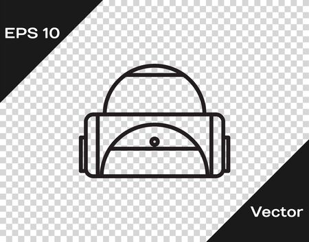 Black line Sport bag icon isolated on transparent background. Vector Illustration Stock Illustratie