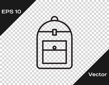 Black line Backpack icon isolated on transparent background. Vector Illustration