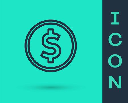 Black line Coin money with dollar symbol icon isolated on green background. Banking currency sign. Cash symbol. Vector Illustration