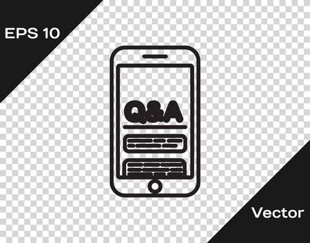 Black line Mobile phone with Question and Exclamation icon isolated on transparent background. Frequently asked questions. Vector Illustration
