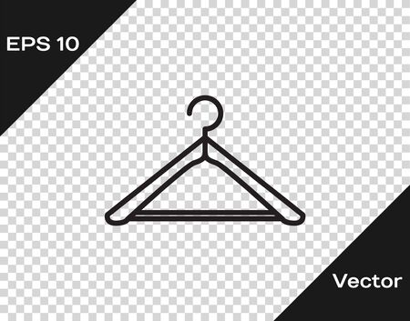 Black line Hanger wardrobe icon isolated on transparent background. Cloakroom icon. Clothes service symbol. Laundry hanger sign. Vector Illustration Illustration