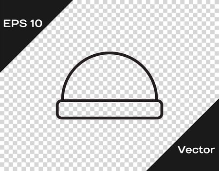 Black line Beanie hat icon isolated on transparent background. Vector Illustration