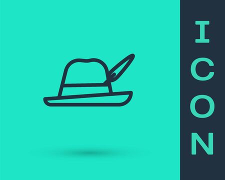 Black line Oktoberfest hat icon isolated on green background. Hunter hat with feather. German hat. Vector Illustration