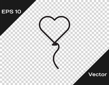 Black line Balloons in form of heart with ribbon icon isolated on transparent background. Valentines day symbol. Vector Illustration Stock fotó - 138070499