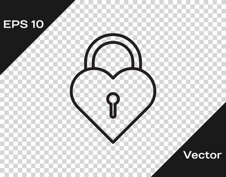 Black line Castle in the shape of a heart icon isolated on transparent background. Locked Heart. Love symbol and keyhole sign. Vector Illustration Ilustração