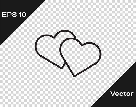 Black line Heart icon isolated on transparent background. Romantic symbol linked, join, passion and wedding. Valentine day symbol. Vector Illustration