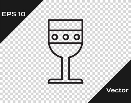 Black line Medieval goblet icon isolated on transparent background. Vector Illustration