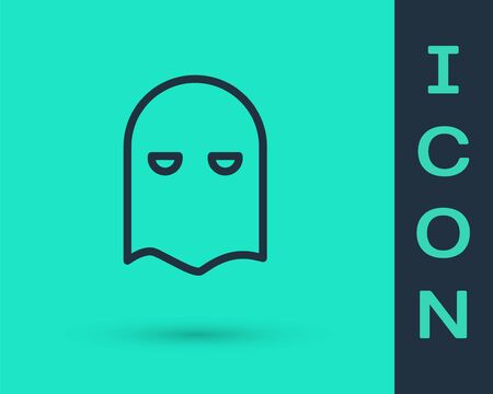 Black line Executioner mask icon isolated on green background. Hangman, torturer, executor, tormentor, butcher, headsman icon. Vector Illustration