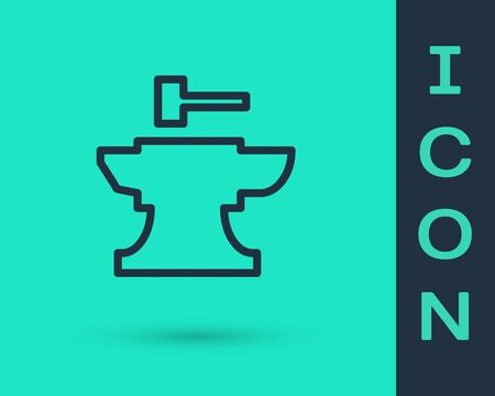 Black line Anvil for blacksmithing and hammer icon isolated on green background. Metal forging. Forge tool. Vector Illustration