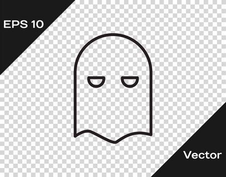 Black line Executioner mask icon isolated on transparent background. Hangman, torturer, executor, tormentor, butcher, headsman icon. Vector Illustration