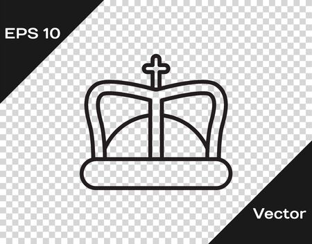 Black line King crown icon isolated on transparent background. Vector Illustration