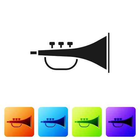Black Musical instrument trumpet icon isolated on white background. Set icons in color square buttons. Vector Illustration