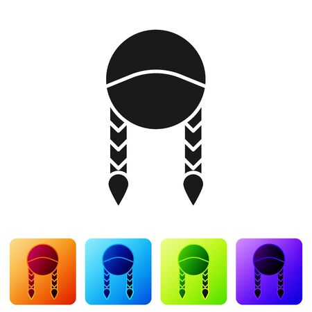 Black Braid icon isolated on white background. Set icons in color square buttons. Vector Illustration