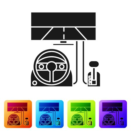 Black Racing simulator cockpit icon isolated on white background. Gaming accessory. Gadget for driving simulation game. Set icons in color square buttons. Vector Illustration