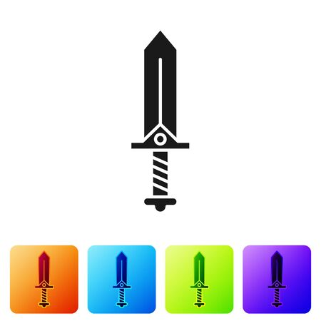 Black Sword for game icon isolated on white background. Set icons in color square buttons. Vector Illustration  イラスト・ベクター素材