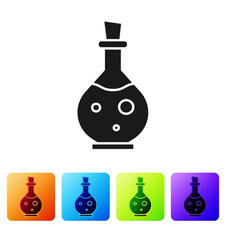 Black Glass bottle with magic elixir icon isolated on white background. Computer game asset. Set icons in color square buttons. Vector Illustration