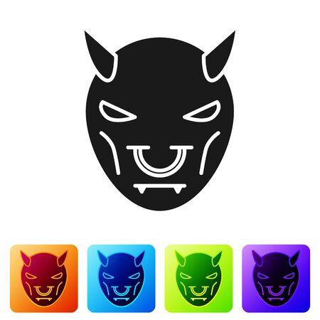 Black Mask of the devil with horns icon isolated on white background. Set icons in color square buttons. Vector Illustration