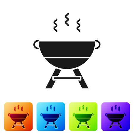 Black Barbecue grill icon isolated on white background. BBQ grill party. Set icons in color square buttons. Vector Illustration Illusztráció