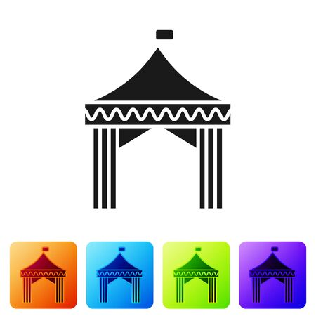 Black Camping tent icon isolated on white background. Carnival camping tent. Amusement park. Set icons in color square buttons. Vector Illustration