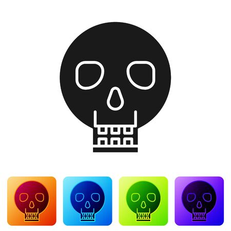 Black Skull icon isolated on white background. Happy Halloween party. Set icons in color square buttons. Vector Illustration Иллюстрация