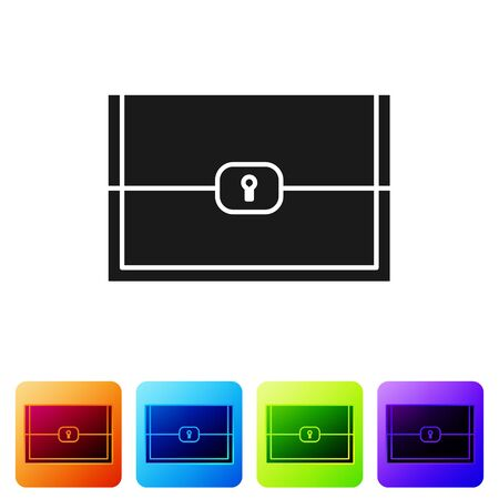 Black Chest for game icon isolated on white background. Set icons in color square buttons. Vector Illustration Illustration