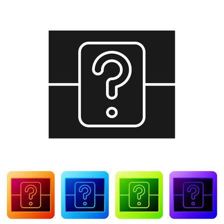 Black Mystery box or random loot box for games icon isolated on white background. Question box. Set icons in color square buttons. Vector Illustration